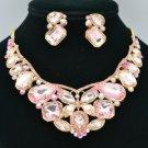 Pink Rhinestone Crystal Flower Butterfly Necklace Earring Set Radiant Drop 00355