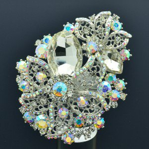"Pretty 3.3"" Bridal eaf Flower Brooch Pin Clear estone Crystals 2274"