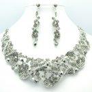 Romantic Riband Flower Necklace Earring Set W Black Rhinestone Crystals 02669