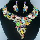 Mix Rhinestone Crystals Trendy Ribbon Coil Flower Necklace Earring Set 02267