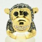 H-Quality Vogue Monkey Cocktail Ring Sz 8# Black A/B Swarovski Crystals SR2053-3