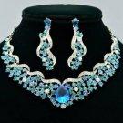 Popular Flower Riband Necklace Earring Set Blue Rhinestone Crystal Drop NC5149