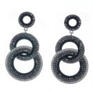 Stylish Dangle Pierced Circle Earring W/ Black Rhinestone Crystals 203348