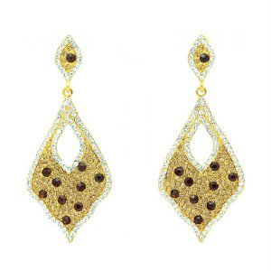 Rhinestone Crystals Gold Tone Brown Drop Dangle Pierced Earring 108544