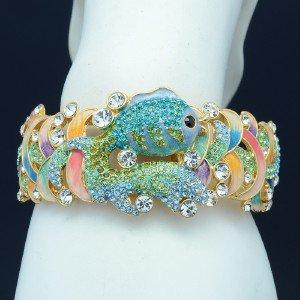 HI-Q Stylish Green Goldfish Bracelet Bangle Cuff w/ Swarovski Crystal SKSA1749-2