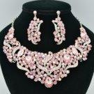 Fashion Pink Leaf Flower Necklace Earring Set W/ Rhinestone Crystals 02650