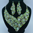 Big Floral Flower Necklace Earring Set W/ Green Rhinestone Crystals 5540