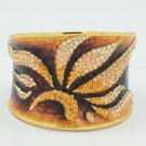 H-Quality Topaz Swarovski Crystals Enamel Leaf Flower Bracelet Bangle SKA1961M-1