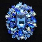 """Rhinestone Crystals Blue Pendant Flower Brooch Pin 2.5"""" W/ Silver Tone 4888"""