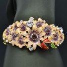 High Quality Ladybug Flower Bracelet Bangle W Purple Swarovski Crystal SKCA1783M