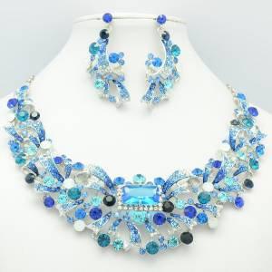 Silver Tone Flower Necklace Earring Set w/ Blue Rhinestone Crystals 5192