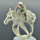 High Quality Monkey Horse Cocktail Ring Sz 8# Clear Swarovski Crystals SR2041-3
