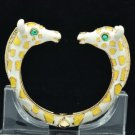 Yellow Enamel 2 Giraffe Bracelet Bangle Cuff W/ Clear Rhinestone Crystals L1074