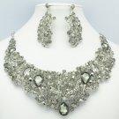 Fashion Gray Leaf Flower Necklace Earring Set W/ Rhinestone Crystals 02650