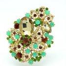"""Pretty 3.3"""" Leaf Flower Brooch Pin Brown Rhinestone Crystals Opal 2274"""