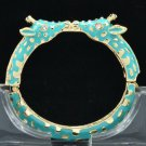 Enamel Sky Blue 2 Giraffe Bracelet Bangle W/ Clear Rhinestone Crystals L1104