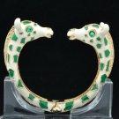 Green Enamel 2 Giraffe Bracelet Bangle Cuff W/ Clear Rhinestone Crystals L1074