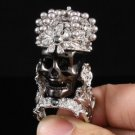 Trendy Swarovski Crystals Black Skull Cocktail Ring 8# For Halloween SR1620-3