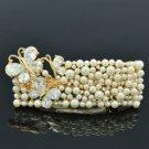 Swarovski Crystals Pearl Clear Butterfly Barrett Hair Clip Wedding Bridal 73102