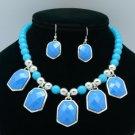 Trendy Dangle Blue Acrylic Resin Bead Necklace Earring Set W/ Silver Tone 54643