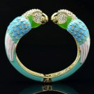 Blue Enamel 2 Bird Parrot Bracelet Bangle W/ Clear Rhinestone Crystals 01071