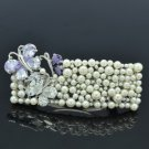 Clear Swarovski Crystals Pearl Butterfly Barrett Hair Clip  Wedding Bridal 3201