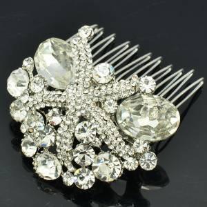 Wedding Bridesmaid Bridal Cute Starfish Hair Comb W/ Clear Rhinestone Crystals