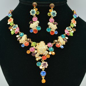 High Quality Mix Swarovski Crystals Froggy Frog Necklace Earring Set SNA3182-3