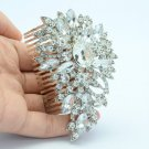 Bridal Floral Flower Hair Comb Jewelry W Swarovski Crystals For Wedding 4080