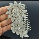 Wedding Silver Tone Flower Hair Comb w/ Clear Rhinestone Crystals 5567