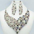 Vogue Flower Necklace Earring Set W/ Purple Rhinestone Crystals 5540