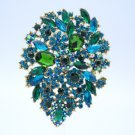 "Beautiful Flower Brooch Broach Pin 3.9"" Drop Rhinestone Crystal Blue Zircon 3905"