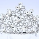 Wedding Showy Flower Tiara Crown Wedding W/ Clear Rhinestone Crystals 0820