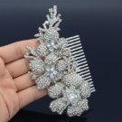 Wedding Bridesmaid Flower Hair Comb Tiara W/ Clear Rhinestone Crystals 5704