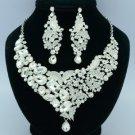 Wedding Flower Butterfly Necklace Earring Set W/ Clear Rhinestone Crystals 5869
