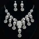 Goth Style Multi Skeleton Skull Necklace Earring Set W/ Clear Rhinestone Crystal