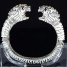 Fancy Clear 2 Leopard Panther Bracelet Bangle Cuff W/ Swarovski Crystals Enamel