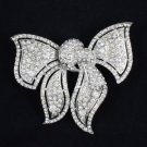 """Trendy Big Bow Bowknot Brooch Pin 3.3"""" W/ Clear Rhinestone Crystals For Wedding"""