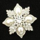 Rhinestone Crystals White Imitation Pearl Leaf Brooch Broach Pin For Wedding