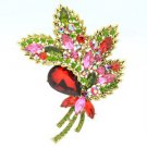 "Rhinestone Crystals Red Flower Leaf Brooch Broach 3.9"" W/ Vintage Style 4037"