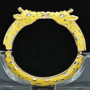 Enamel Yellow 2 Giraffe Bracelet Bangle Cuff W/ Clear Rhinestone Crystals L1104