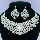 4 Color Heart Flower Necklace Earring Jewelry Sets W/ Rhinestone Crystals 02633