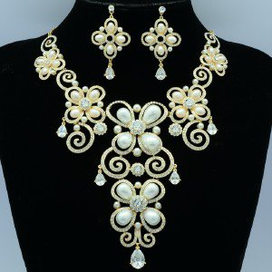 H-Quality White Faux Pearl Flower Necklace Earring Set W Clear Swarovski Crystal