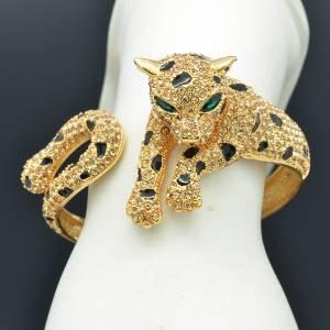 H-Quality Swarovski Crystals Brown Panther Leopard Bracelet Bangle Cuff SKS1286