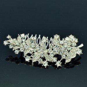 Bridal Silver Tone Leaf Flower Hair Comb W/ Clear Rhinestone Crystals Wedding