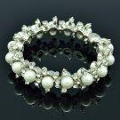 White Faux Pearl Bracelet Bangle W/ Clear Rhinestone Crystals 8816B
