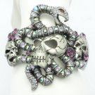 H-Quality Animal Purple Swarovski Crystals Snake Skull Bracelet Bangle SKCA1929