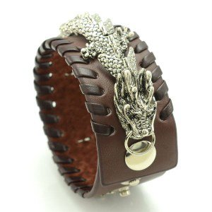 Vintage Style Popular Animal Dragon Bracelet Bangle w/ Brown Synthetic Leather