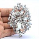 """Chic Clear Rhinestone Crystals Flower Brooch Broach Pin Bride 3.1"""" 5844"""