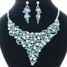 Pretty Flower Necklace Earring Set W/ Blue Rhinestone Crystals